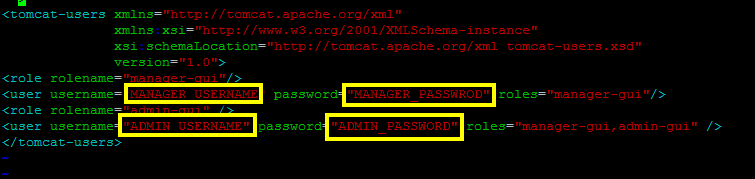 how to set username and password for tomcat server