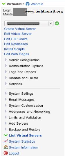 VPS Server installation virtualmin Control panel