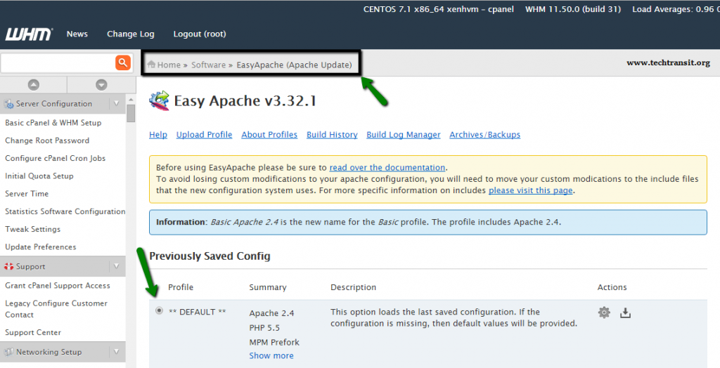 error easyapache cPanel Apache